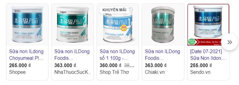 Giá bán sữa non Ildong Hàn Quốc cho trẻ sơ sinh