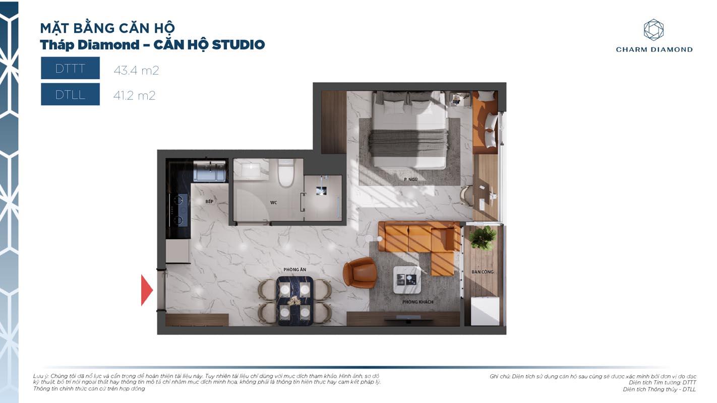 Mẫu thiết kế căn hộ Charm Diamond Bình Dương