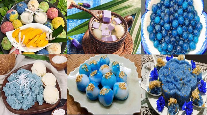 Một số thức ăn được trang trí từ hoa đậu biếc