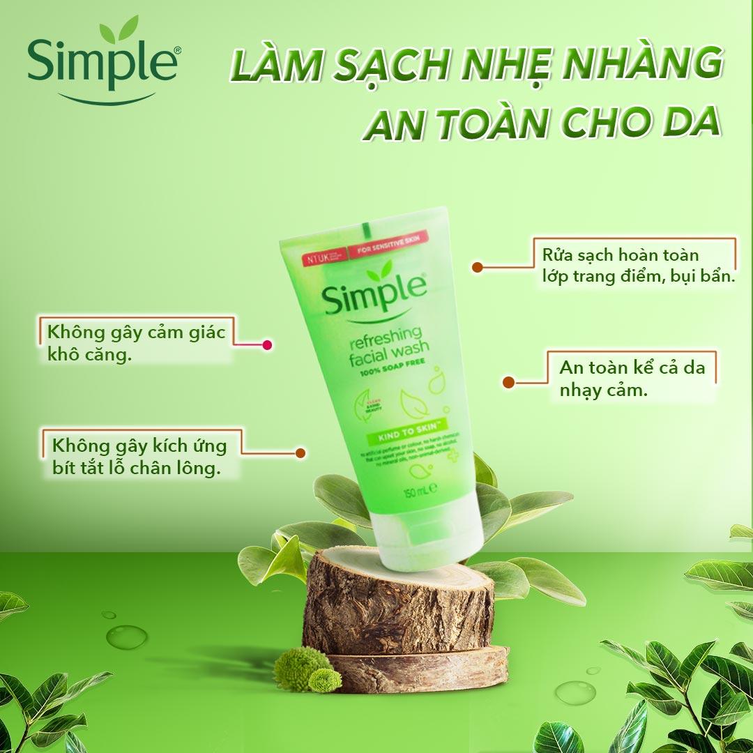 sữa rửa mặt simple cho da dầu mụn hoặc da khô